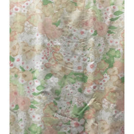 Pair Drapes 7' x 6' Apricot / Mint Designers Guild Mottled Floral