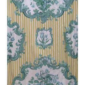 Pair Drapes 7' x 4' Lemon Floral Medallion Stripe Chintz