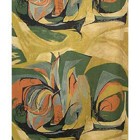 Pair Drapes 7' x 4' Yellow Barbara Brown Sweetcorn Abstract Print