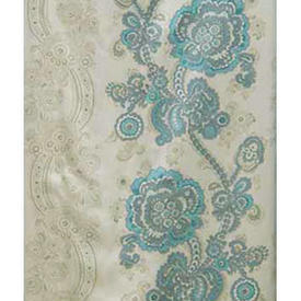 Pair Drapes 7' x 4' Turquoise Floral Crewel Print Sateen