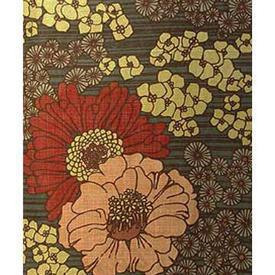 Pair Drapes 7' x 4' Khaki / Ginger Large Floral Slub Linen