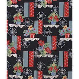Pair Drapes 7' x 4' Black Geo Flowerpot Blocks Print Polycotton