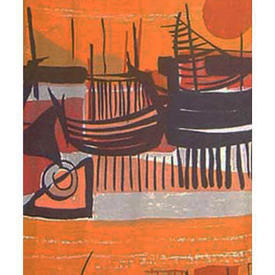 Pair Drapes 7' x 6' Orange Edinburgh Weavers San Pedro Sunset & Boats Repp