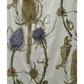 "Pair Drapes 7'3"" x 4' Sky Heal's Teasels Cotton"