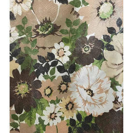 Pair Drapes 7' x 4' Brown / Khaki Floral 'Barkcloth' Nylon
