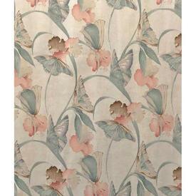 "Pair Drapes 7'3"" x 6' Aqua / Peach Home Classic Butterfly Floral Sateen"