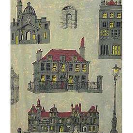 "Pair Drapes 7'3"" x 8' Sea Buildings Print Linen"