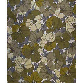 "Pair Drapes 7'3"" x 5'6"" Olive All-Over Floral Print Cotton"