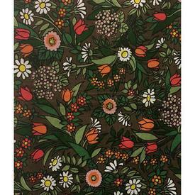 "Pair Drapes 7'6"" x 6' Brown Jonelle Flower Waltz All-Over Floral Print Cotton"