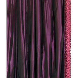 "Pair Drapes 7'6"" x 8' Purple Silk Taffeta / Magenta Lurex Rolled Edge"