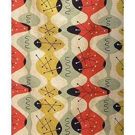 "Pair Drapes 7'6"" x 4' Mint / Red Turnbull & Stockdale Ltd Atomic Stripe Barkcloth"