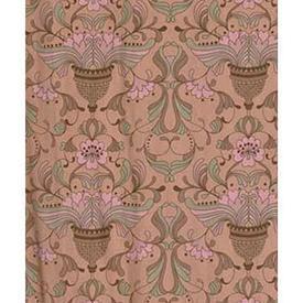 "Pair Drapes 7'5"" x 4' Salmon Floral Urn Print Cotton"