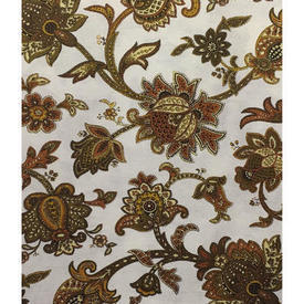 "Pair Drapes 7'6"" x 6' Mustard St Michael Paisley Crewel Print Weave"