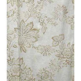 "Pair Drapes 7'6"" x 16' Ivory Large Leaf Print Slub Cotton"