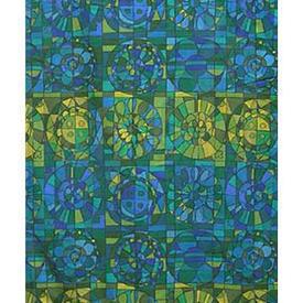 "Pair Drapes 7'6"" x 4' Turquoise Geo Print Cotton"