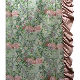 "Pair Drapes 7'9"" x 8' Mint Floral Trellis Chintz / Frill"