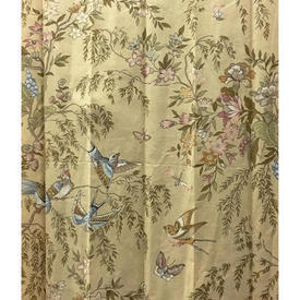 "Pair Drapes 7'9"" x 4' Sand Floral & Bird Cotton Sale 30.00 ea"