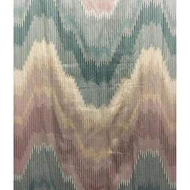 "Pair Drapes 7'9"" x 14' Aqua / Lilac Flame Patt Glazed Cotton"