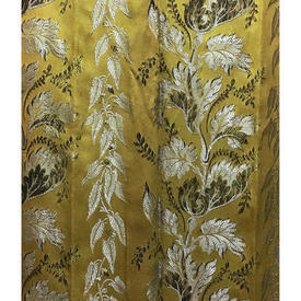 "Pair Drapes 7'9"" x 4' Yellow Leaf Stripe Silky Brocade"