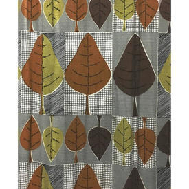 "Pair Drapes 7'9"" x 9' Tan / Grey Geo Leaf Print Barkcloth"