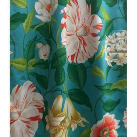 """Pair Drapes 7'9"""" x 4' Turquoise Sanderson Floreanna Large Tropical Floral"""