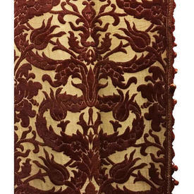 "Pair Drapes 7'9"" x 4' Chestnut Large Leaf Scroll Flock"