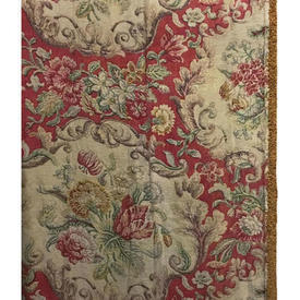 """Pair Drapes 8' x 2'6"""" Red Faded Floral Linen / Braid"""