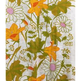 Pair Drapes 8' x 4' Lime / Orange Large Floral Cotton Weave Sale 35.00 ea