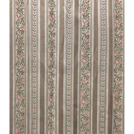Pair Drapes 8' x 6' Beige Regency Style Stripe Sateen