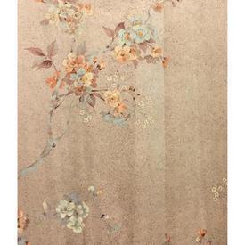 Pair Drapes 8' x 6' Peach Apple Blossom Print Sateen Sale 55.00 ea