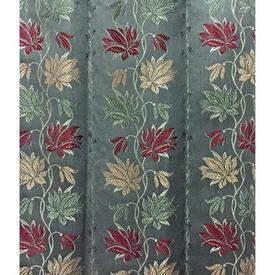 "Pair Drapes 8'3"" x 4' Grey Floral Stripe Silky Brocade"