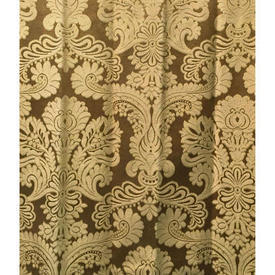 "Pair Drapes 8'3"" x 4' Gold Floral Damask"