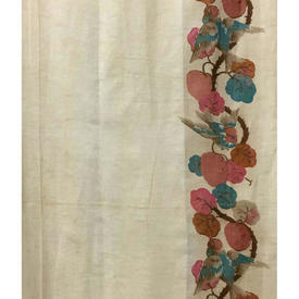"Pair Drapes 8'3"" x 3' Apricot Birds on Vine Bordered Linen"
