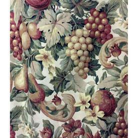"Pair Drapes 8'3"" x 6' Bottle / Burgundy Warners Floral & Grape Print Linen"