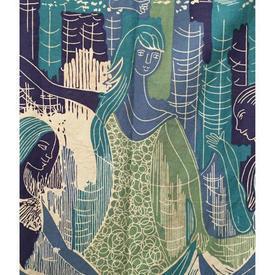 "Pair Drapes 8'3"" x 4' Turquoise Sanderson Trio Screen-print"