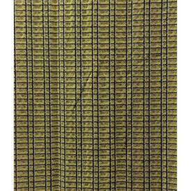 "Pair Drapes 8'3"" x 6' Yellow Gilt Thread Check Jacquard"