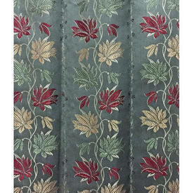 "Pair Drapes 8'3"" x 6' Grey Floral Stripe Silky Brocade"