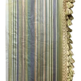 "Pair Drapes 8'3"" x 6' Sage Stripe Print Sateen / Fringe"