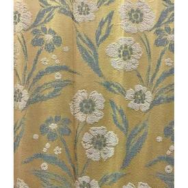 "Pair Drapes 8'3"" x 8' Lemon Floral Brocade"
