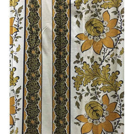 "Pair Drapes 8'3"" x 8' Mustard / Black Large Floral & Oakleaf Stripe"