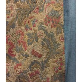 "Pair Drapes 8'3"" x 6' Blue / Sand Floral Tapestry / Blue Velv. Border Sale 210.00 ea"