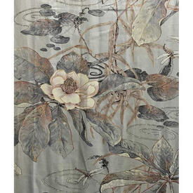 "Pair Drapes 8'3"" x 8' Grey 'Lily Pads' Print Sateen"