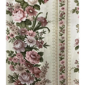 Pair Drapes 8' x 6' Dusky / Khaki Floral Garland Stripe Sateen