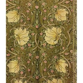 """Pair Drapes 8'6"""" x 4' Olive Sanderson Pimpernel Floral / Fringe"""