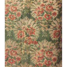 "Pair Drapes 8'5"" x 3'6"" Sage Floral Figured Velvet"