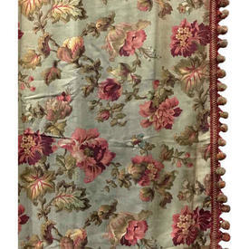 """Pair Drapes 8'5"""" x 4' Aqua / Raspberry Floral Linen / Bobble Trim (PP)"""