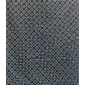 """Pair Drapes 8'7"""" x 6'7"""" Airforce Small Geo Damask Sale 85.00 ea"""