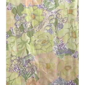 """Pair Drapes 8'6"""" x 6' Lime Designers Guild Floral Chintz"""