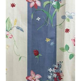 """Pair Drapes 8'6"""" x 6' Blue Flower Stripe Glazed Chintz"""