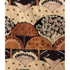 "Pair Drapes 8'6"" x 8' Tan / Brown Heal's Treetops Geo Print Cotton"